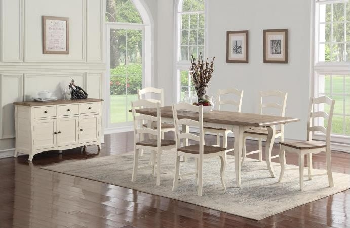 Boulez White Painted Dining Set with 6 Dining Chairs