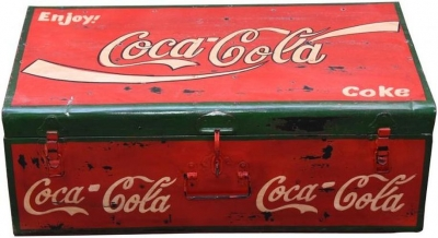 Hand Painted Coco Cola Iron Trunk