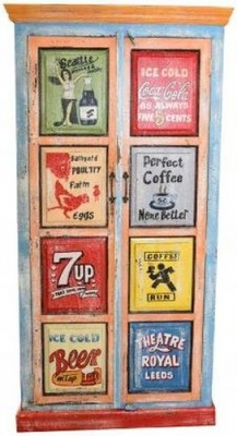 Hand Painted Tall Vintage Ad 2 Door Cabinet