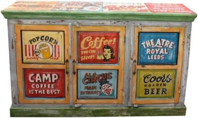Hand Painted Vintage Ad 3 Door Sideboard