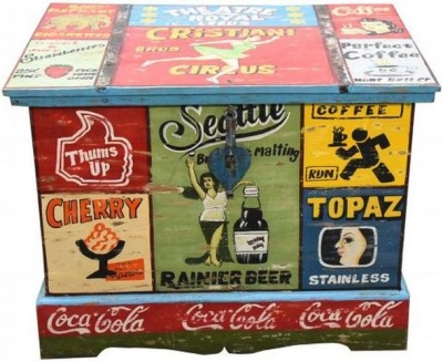 Hand Painted Vintage Ad Storage Trunk