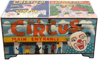 Hand Painted Vintage Circus Storage Trunk