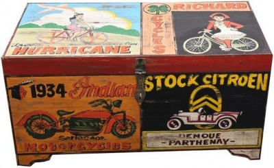 Hand Painted Vintage Transport Storage Trunk