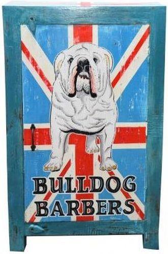 Hand Painted British Bulldog Narrow 1 Door Cabinet