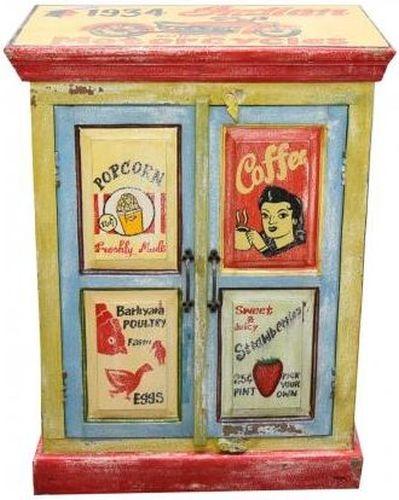 Hand Painted Vintage Ad 2 Door Cabinet