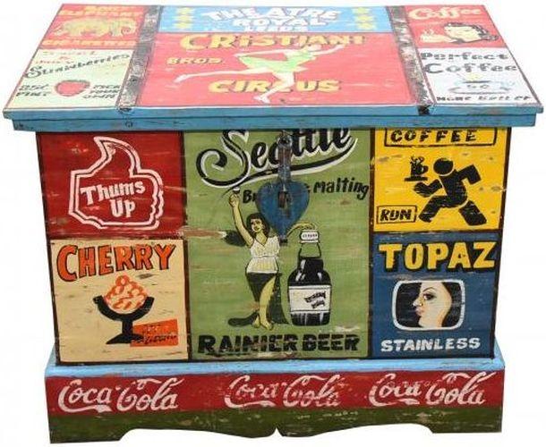 Hand Painted Vintage Ad Storage Trunk