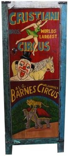 Hand Painted Vintage Circus Ad 1 Door Cabinet