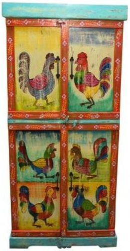 Hand Painted Vintage Folk Pattern 4 Door Cabinet