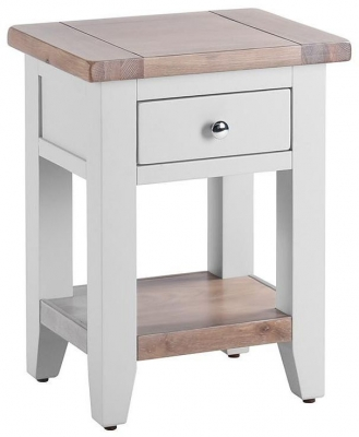 Chalked Oak and Light Grey 1 Drawer Bedside Table