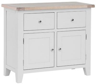 Chalked Oak and Light Grey 2 Door 2 Drawer Narrow Sideboard