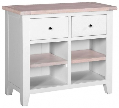 Chalked Oak and Light Grey 2 Drawer Narrow Sideboard