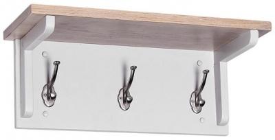 Chalked Oak and Light Grey Coat Rack with 3 Hooks