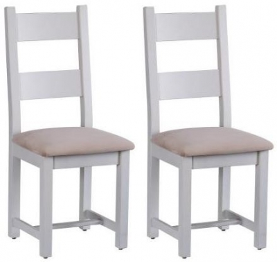 Chalked Oak and Light Grey Horizontal Slatted Dining Chair with Plush Asphalt Fabric Seat (Pair)