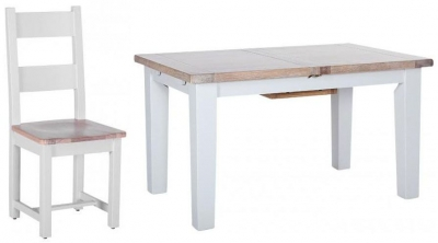 Chalked Oak and Light Grey Dining Set - Extending with 4 Horizontal Slats Chairs