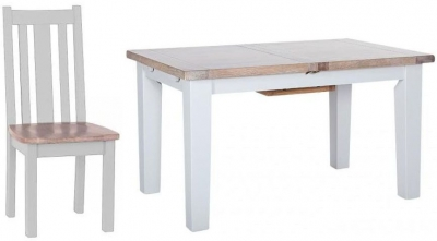Chalked Oak and Light Grey Dining Set - Extending with 4 Vertical Slats Chairs