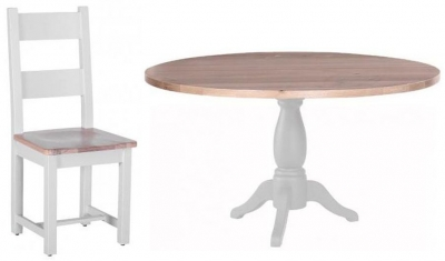 Chalked Oak and Light Grey Dining Set - Round Pedestal with 4 Horizontal Slats Chairs