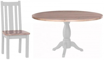 Chalked Oak and Light Grey Dining Set - Round Pedestal with 4 Vertical Slats Chairs