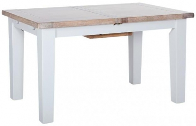 Chalked Oak and Light Grey Rectangular Extending Dining Table