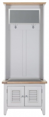 Chalked Oak and Light Grey Hall Storage with Mirror - 2 Louvered Door with Plush Slate Fabric Seat