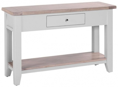 Chalked Oak and Light Grey Hall Table - 1 Drawer