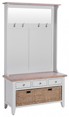 Chalked Oak and Light Grey Hall Tidy Bench with Coat Rack Mirror - 3 Drawer and Basket Drawer