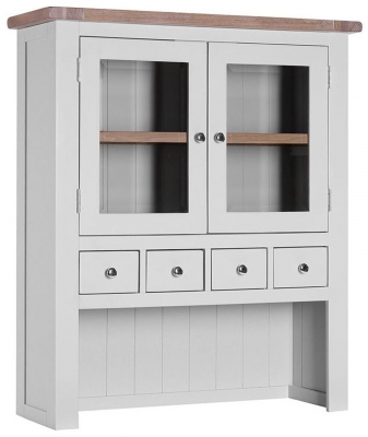 Chalked Oak and Light Grey Hutch - 2 Door 4 Drawer