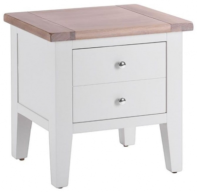 Chalked Oak and Light Grey 1 Drawer Lamp Table