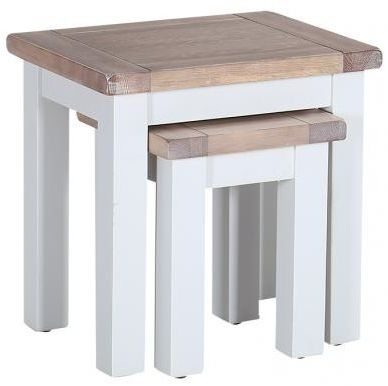 Chalked Oak and Light Grey Nest of 2 Tables