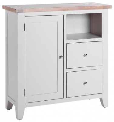Chalked Oak and Light Grey Organiser Cabinet - 1 Door 2 Drawer