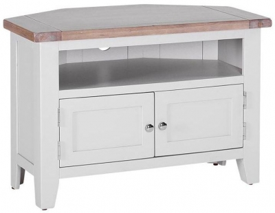 Chalked Oak and Light Grey TV Unit - 90 Degree Corner with 2 Doors and 2 Shelves