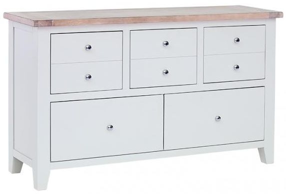 Chalked Oak and Light Grey Chest of Drawer - 5 Drawer