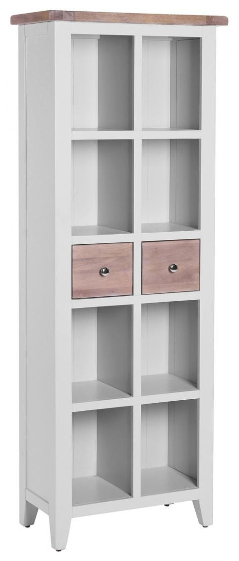 Chalked Oak and Light Grey Bookcase - 2 Drawer