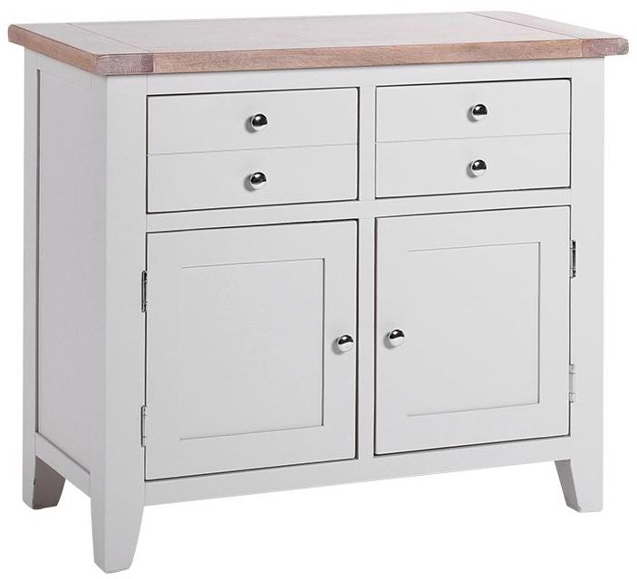 Chalked Oak and Light Grey Sideboard - Narrow 2 Drawer 2 Door