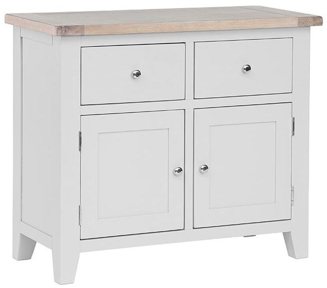 Chalked Oak and Light Grey Sideboard - Small Narrow 2 Drawer 2 Door