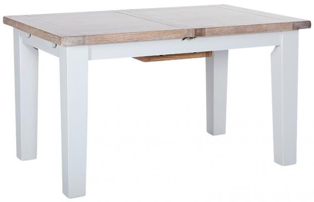 Chalked Oak and Light Grey Dining Table - 140cm-180cm Rectangular Extending