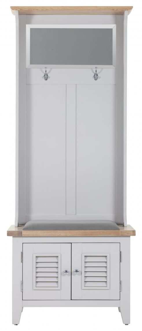 Chalked Oak and Light Grey 2 Door Hall Tidy Bench Plush Asphalt Fabric Seat with Coat Rack Mirror and Basket Drawer