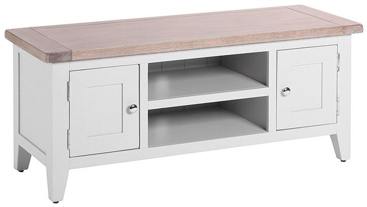 Chalked Oak and Light Grey TV Unit - 2 Door 1 Shelf