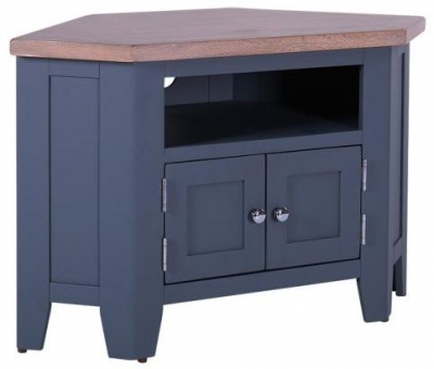 Chalked Oak and Downpipe 2 Door 90 Degree Corner TV Unit - DCW037A