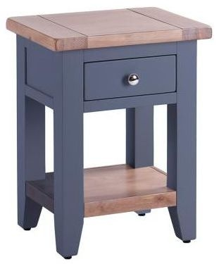 Chalked Oak and Downpipe 1 Drawer Bedside Table
