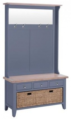 Chalked Oak and Downpipe Hall Tidy Bench with Coat Rack Mirror and Basket Drawer - 3 Drawer