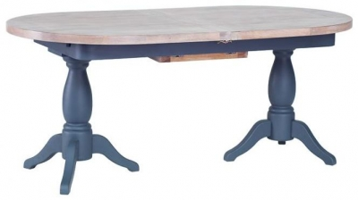 Chalked Oak and Downpipe Twin Pedestal Oval Extending Dining Table - 190cm-240cm