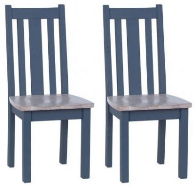 Chalked Oak and Downpipe Vertical Slatted Dining Chair with Timber Seat (Pair)