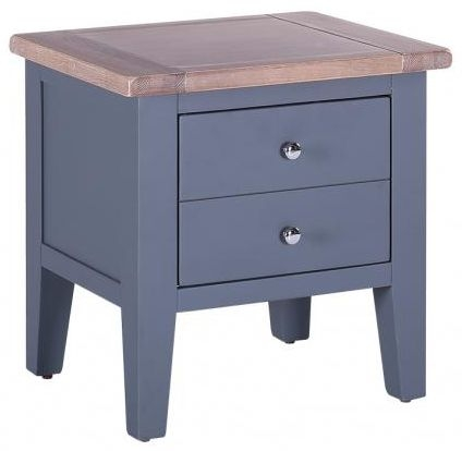Chalked Oak and Downpipe 1 Drawer Lamp Table