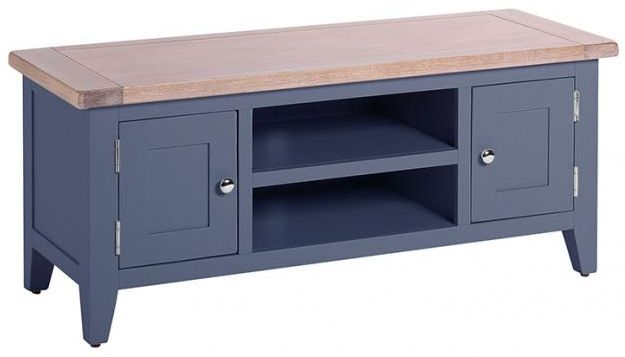 Chalked Oak and Downpipe TV Unit - 2 Door 1 Shelf