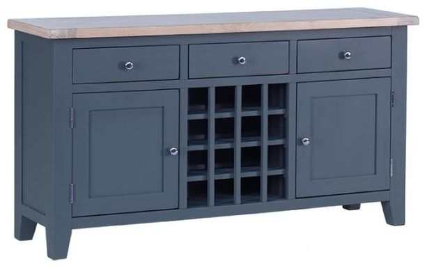 Chalked Oak and Downpipe 2 Door 3 Drawer Wine Table