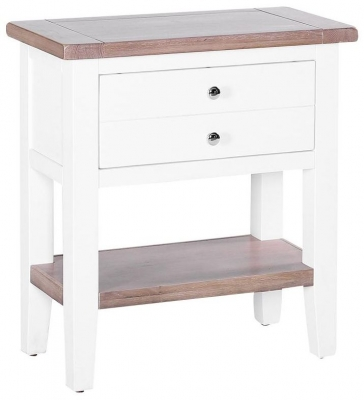 Chalked Oak and Pure White 1 Drawer Small Console Table