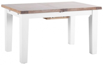 Chalked Oak and Pure White Rectangular Extending Dining Table