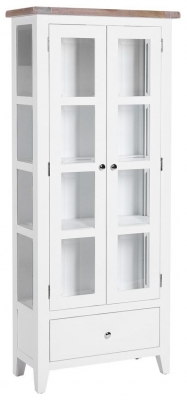 Chalked Oak and Pure White 2 Door 1 Drawer Glazed Display Cabinet