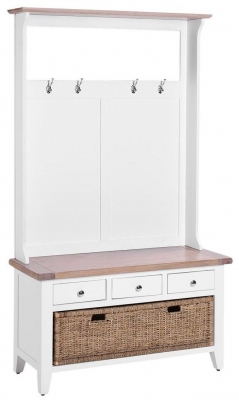 Chalked Oak and Pure White Hall Tidy 3 Basket Drawer Bench with Coat Rack and Mirror