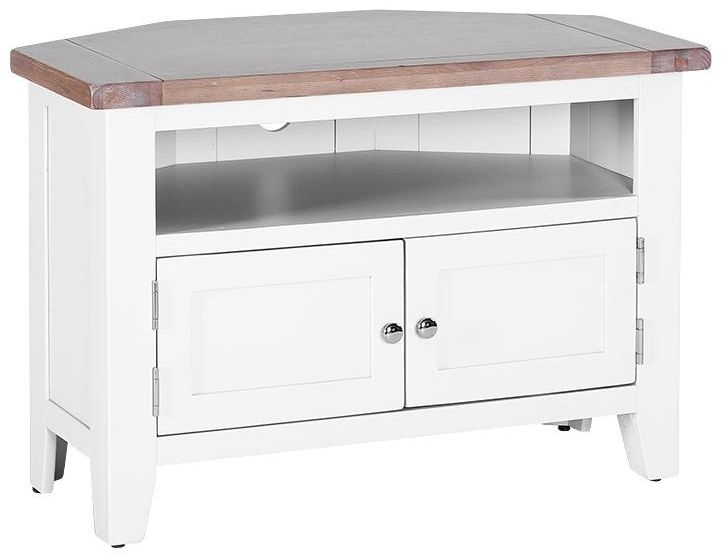 Chalked Oak and Pure White 90 Degree Corner TV Unit - 2 Door 2 Shelves WCW037